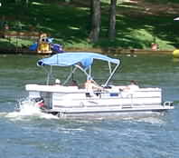 pontoon boat on Cedar Creek Lake